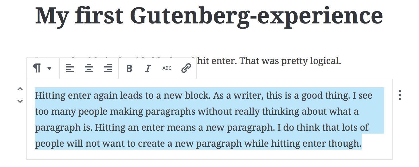 WordPress Gutenberg Text Block