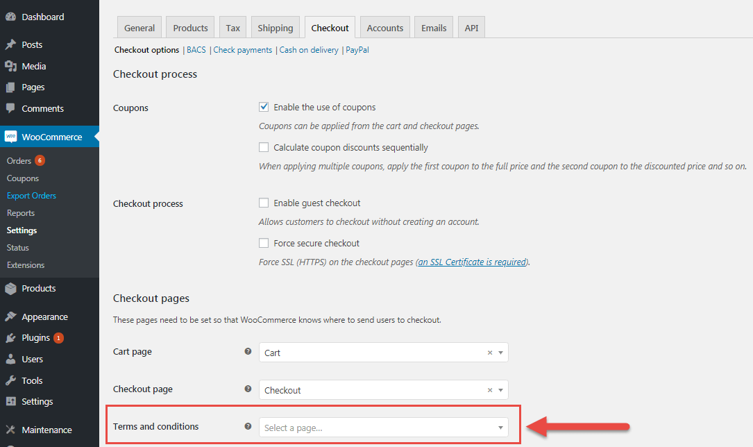 WooCommerce GDPR terms conditions assign page