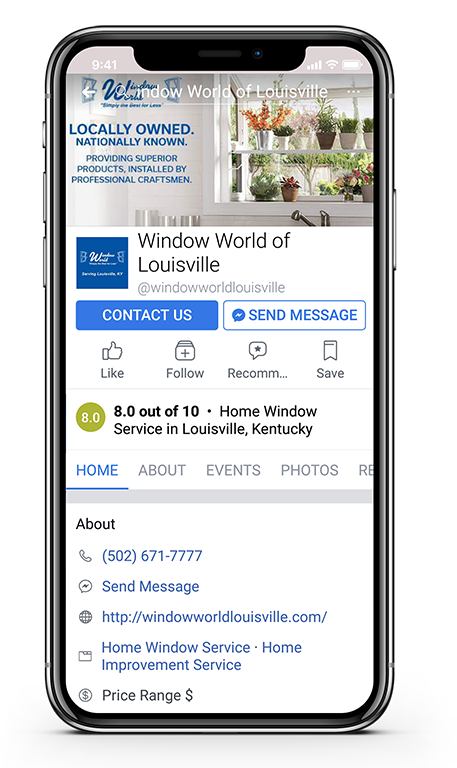 Facebook on the phone Window World Louisville